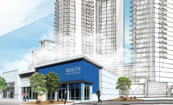 Sketch of tall buildings with a wealth sign